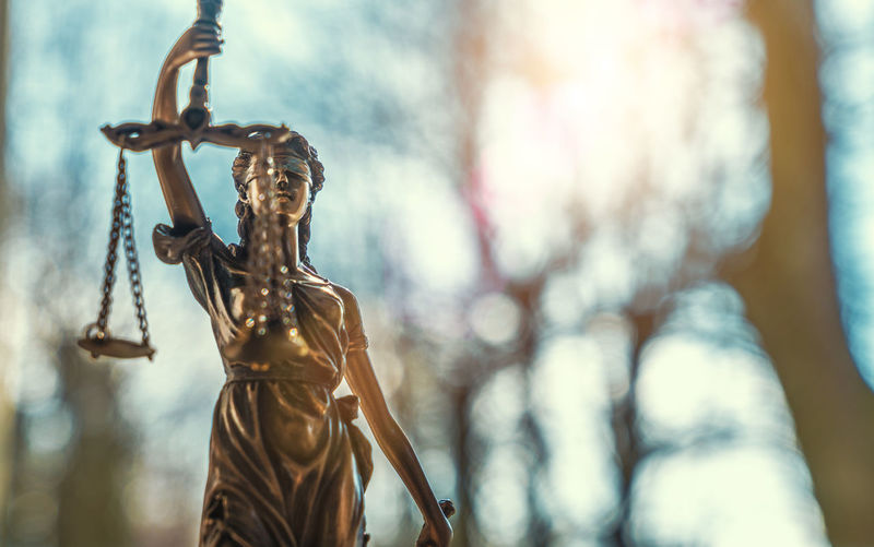 Low angle view of lady justice statue