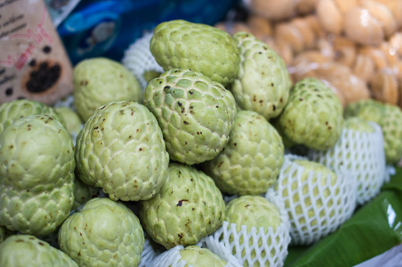 Close-Up Of Custard Apple For Sale In Market