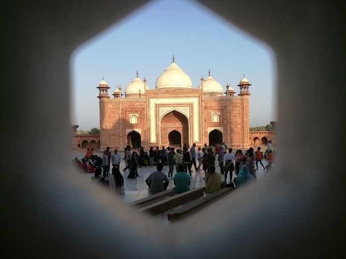 Taj Mahal outlying Mosque. ViewfromTajMahal Architecture Bluesky Redstone
