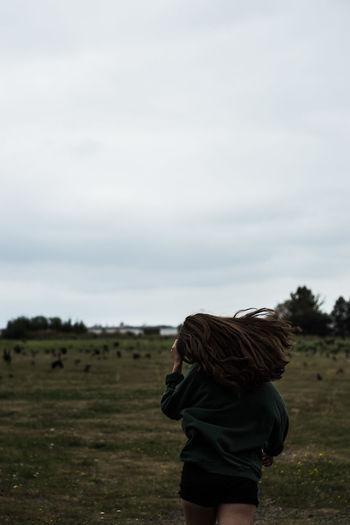 Run Dark Escaping Run Field Hair One Person Outdoors Sky