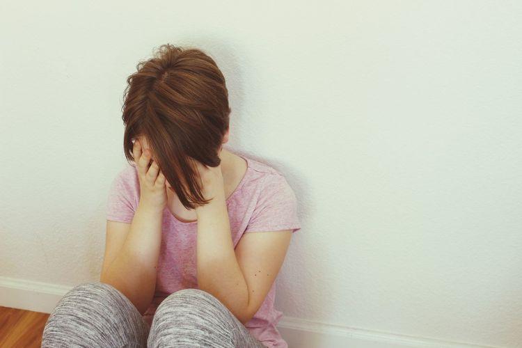Teen Teenager Teengirl Depressed Depression Depressive Sad Sadness Upset Pain Indoors  Lonliness