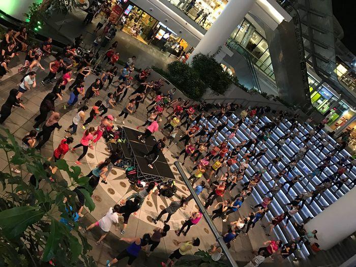 High angle view of crowd