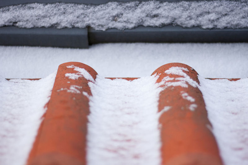 snow on the roof Selective Focus No People Close-up White Color Winter Roof Rooftop Roof Tile Brick Bricks Snow Snow Covered Snow Covered Bricks Let It Snow Red Orange Color Backgrounds Copy Space Winter Cold Temperature Ice Icy Winter Wonderland