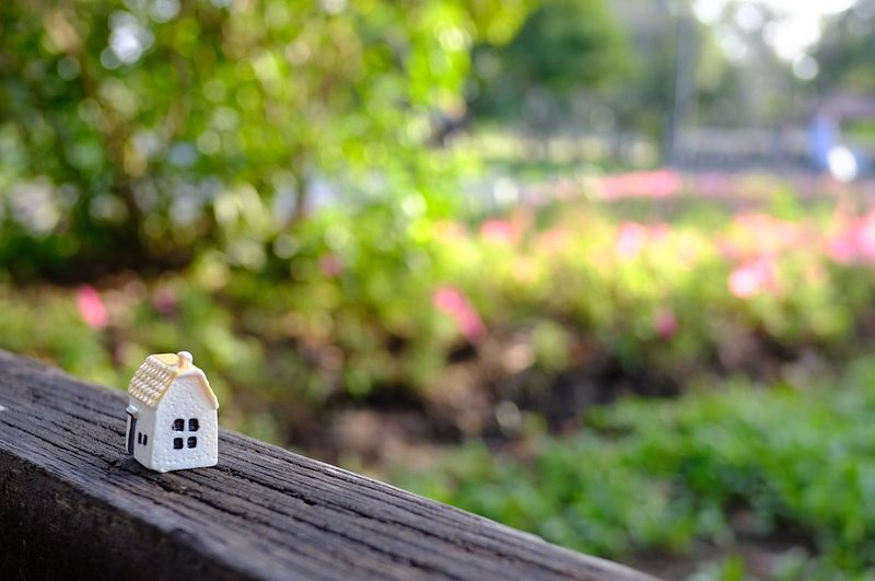 High Angle View Of House Model On Wood Against Blurred Background