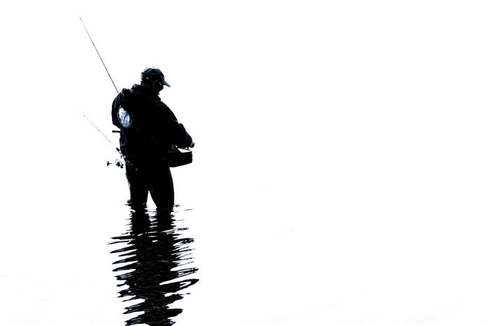 fishing rod Angler Bad Segeberg Clear Sky Copy Space Fishing Rod Full Length Highkeyphotography Nature Scenics Sea Segeberger See Shadow Solitude Tranquil Scene Tranquility Vacations Water Reflections White