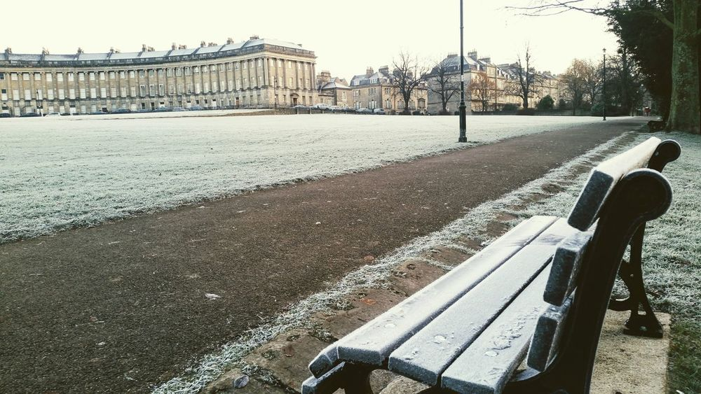 Royal Crescent The Royal Crescent, Bath, UK Bath Bath, UK Frosty Frost Winter Cold Georgian Architecture Park Royal Victoria Park, Bath Bench Bench With A View Bench View No People Day Outdoors Path Cityphotography