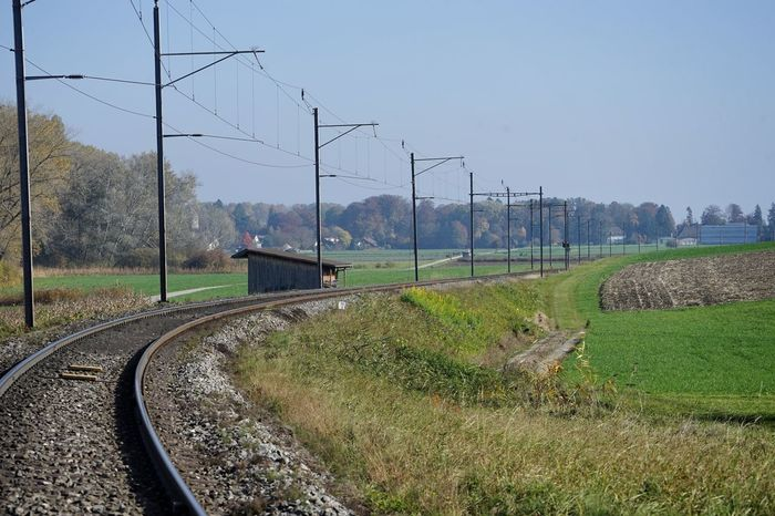 Autumn Colors Autumn Day Fields On The Road Railroad Track Sunny Day Tracks Travel