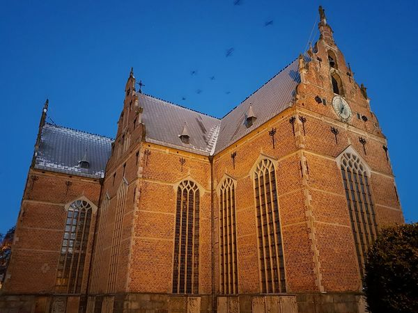 Architecture Building Exterior Built Structure Blue History Sky Clear Sky No People City Cultures Outdoors Morning Morning Light Church Church Architecture Church Window Bird In Flight Bird Sweden