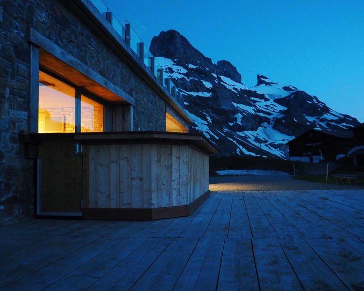 Sunrise Dusk Dusk Colours Alps Mountain Outdoors Nature Building Light Blue Sky Blue Hour Tranquility at Jochpass Switzerland Color Palette