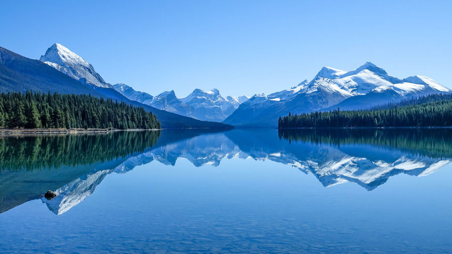 Banff National Park  Beauty In Nature Canada Clear Sky Lake Maligne Lake Mountain Outdoors Reflection Symmetry