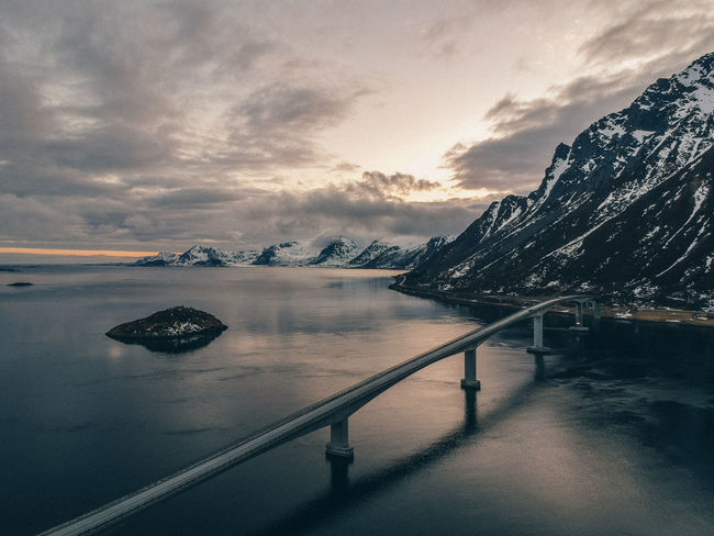 Norway Beauty In Nature Bridge Bridge - Man Made Structure Cloud - Sky Cold Temperature Idyllic Lofoten Mountain Nature No People Reflection Scenics - Nature Sea Sky Sunset Tranquil Scene Tranquility Transportation Water Waterfront
