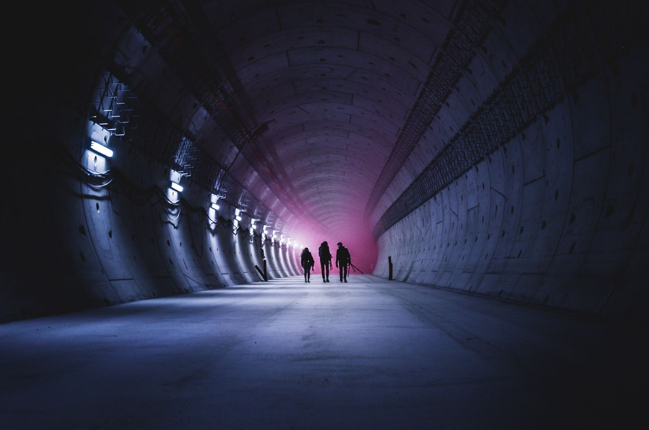tunnel, real people, indoors, architecture, built structure
