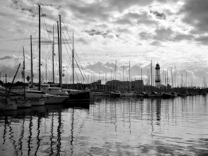 Barcelona SPAIN Travelphotography Nautical Vessel Reflection Water Cloud - Sky Mast Harbor Sky Mode Of Transport Transportation Moored Tranquility No People Outdoors Sailboat Nature Travel Destinations Tall Ship Sea Scenics Day Been There.