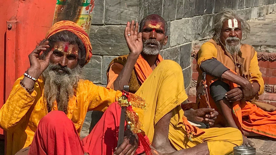 Gathering of Holy Men on the occasion of the Maha Shivaratri Festival, at the Pashupatinath Temple, Kathmandu Nepal Hinduism Group Of People Holy Outdoors Religion Sitting Spirituality Temple