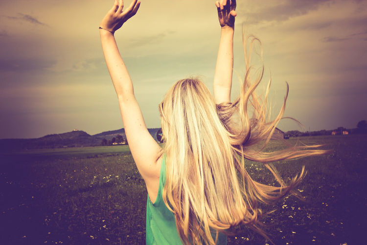 happy girl Beauty Beauty In Nature Blond Femininity Girl Hanging Out Leisure Activity Let Your Hair Down Lifestyles Long Hair Meadowlands Environmental Research Center Nature Outdoors Sky Sunset Tranquility Young Women The Essence Of Summer