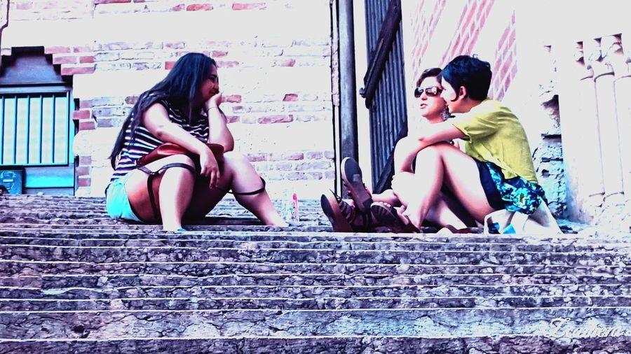 Sitting Young Women Beautiful People People Outdoors Friendship City Verona Speaking
