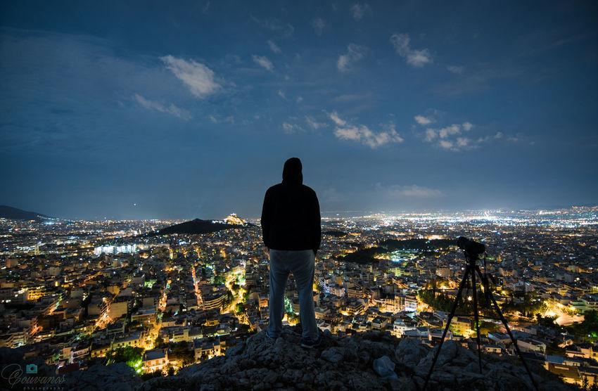 I Love My City Athens Greece Night Light City Man Streetphotography Hills Night Lights