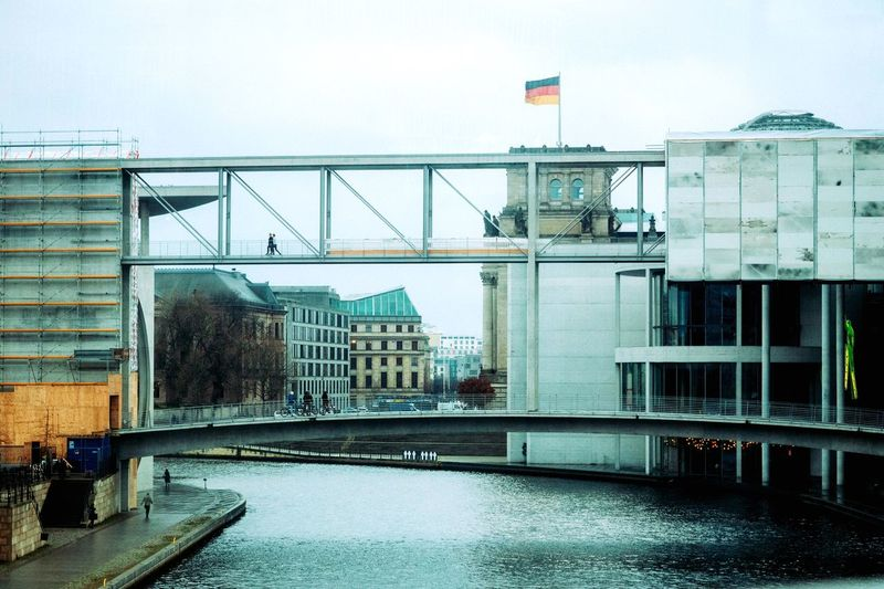 Capture Berlin Architecture Building Exterior Built Structure Clear Sky Bridge - Man Made Structure City Architecture Streetphotography Berlin Mirrorless Olympus Germany Flag