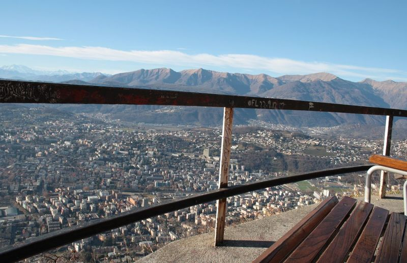 Railing At Observation Point Against Cityscape