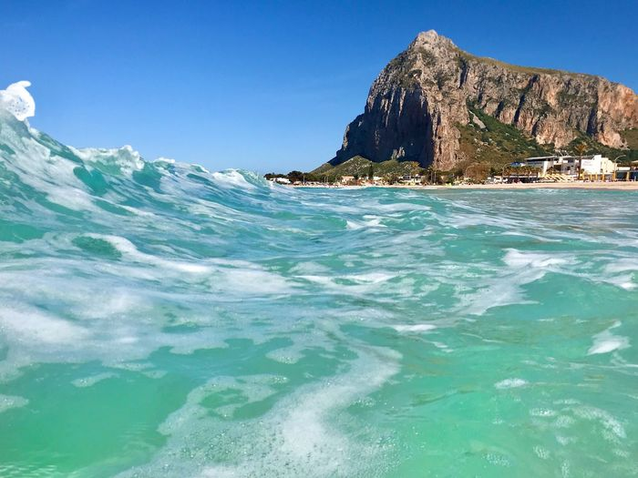 Day Outdoors Power In Nature Clear Sky Sport Blue Rock - Object Rock Wave Motion No People Idyllic Aquatic Sport