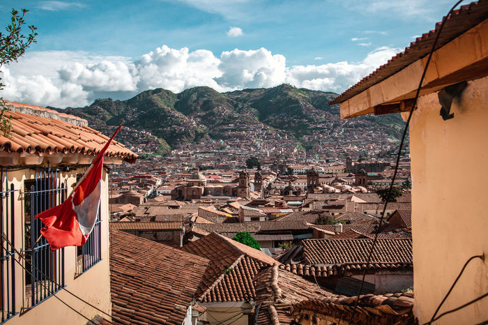 The beautiful view over Cusco. Andes Backpacking City Cityscape Exploring Inca Latin America Architecture Building Built Structure Colonial Day Discover  Flag House No People Outdoors Patriotism Residential District Roof Roof Tile South America TOWNSCAPE Travel Destinations Urban The Great Outdoors - 2018 EyeEm Awards The Traveler - 2018 EyeEm Awards