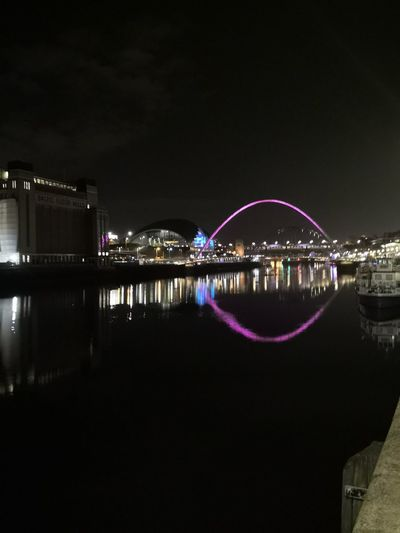 Millennium bridge and Gateshead buildings Boats Colour Lights Reflection The Baltic Gallery Quayside City Huawei Mate 10 Pro Colour Waters Edge Landscape Millennium Bridge Sage Gateshead Cityscape Illuminated Water Arts Culture And Entertainment Popular Music Concert Urban Skyline Bridge - Man Made Structure