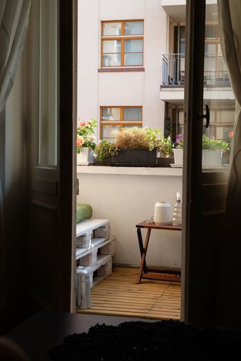 Open door at balcony