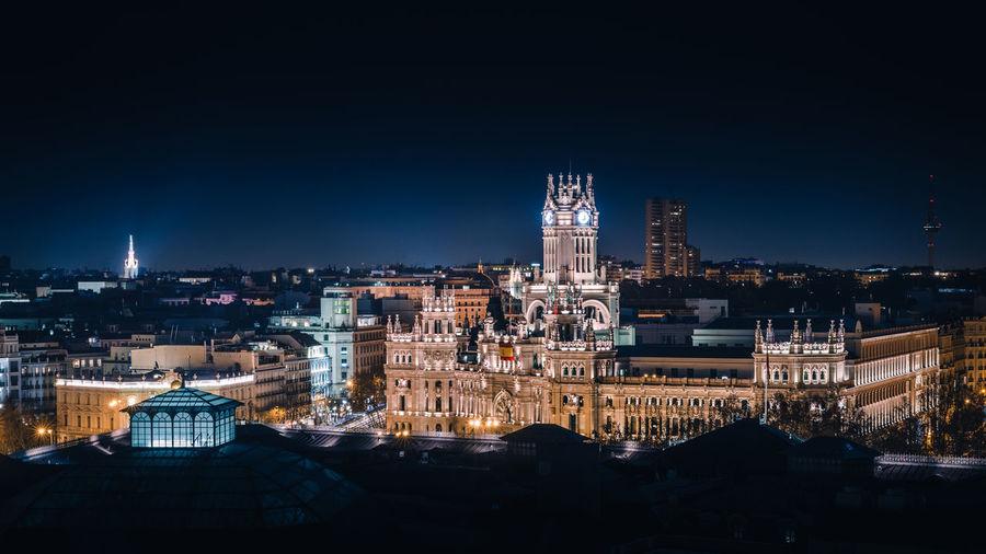 Illuminated buildings in city at night