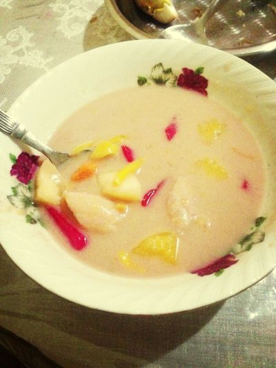 Eat kolak(Indonesia food) Made By My Mom Yummy!