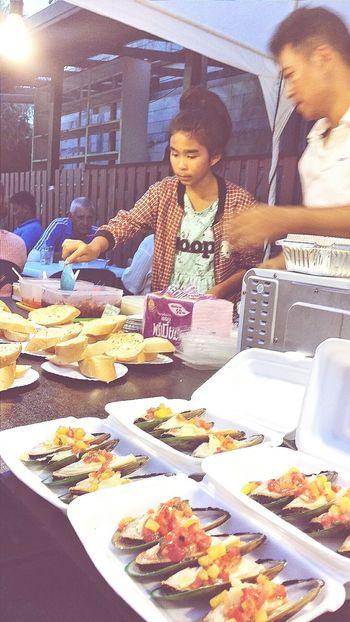 Mussels Street Vendors Stalls At Sunday Market Lamai_samui_thailand