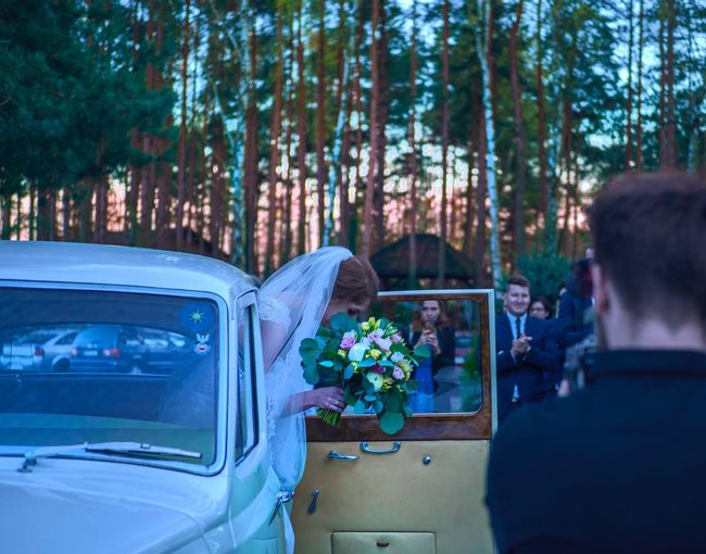 Plant Tree Flower Flowering Plant Nature Transportation Mode Of Transportation Car Motor Vehicle Real People Group Of People Growth Women Men Adult Forest Flower Arrangement Bouquet Day Rear View
