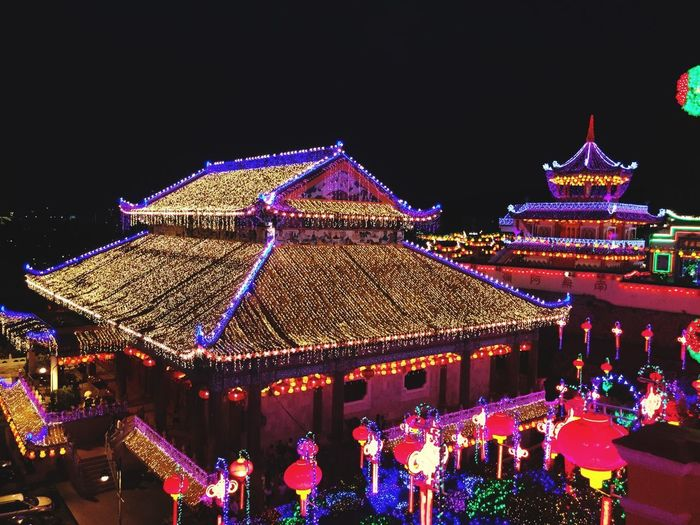 Temple decorated with lights during Chinese New Year Christmas Lights Chinese Celebrations Chinese New Year Celebration Chinese Festivals Bright Bright Lit Night Illuminated Decoration Celebration Sky Christmas Architecture Lighting Equipment Holiday Built Structure Christmas Decoration Multi Colored Building Exterior Glowing Clear Sky Nature No People Outdoors