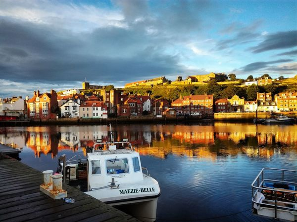 ... What a lovely summer evening in Whitby Harbour Reflection Water Sky Lake Cloud - Sky Night Outdoors No People Illuminated Architecture Nature Summertime 🌞 Summer In Britain Whitby North Yorkshire Harbour View