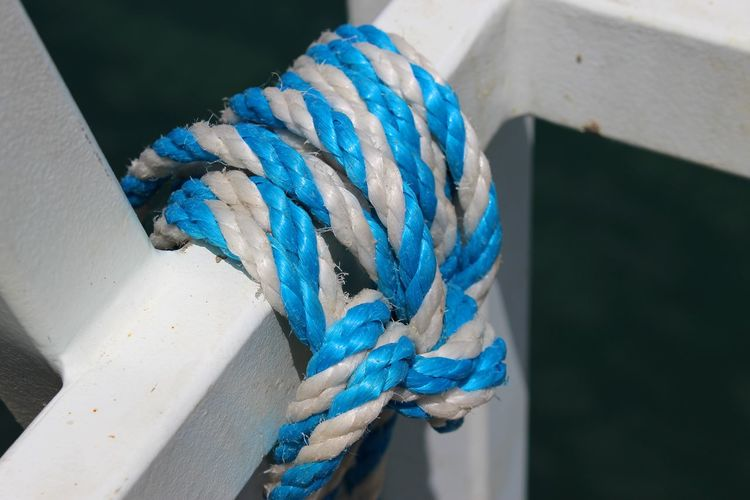 High angle view of blue rope