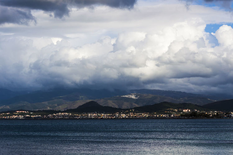 Panorama on the Aegean Sea from Cesmealti (Urla - Turkey) Aegean Sea Panorama Storm Travel Turkey Winter Beauty In Nature Cloud - Sky Destination Scenics Landscape Mountain Nature Outdoors Scenics Sea Sky Tranquil Scene Tranquility Water