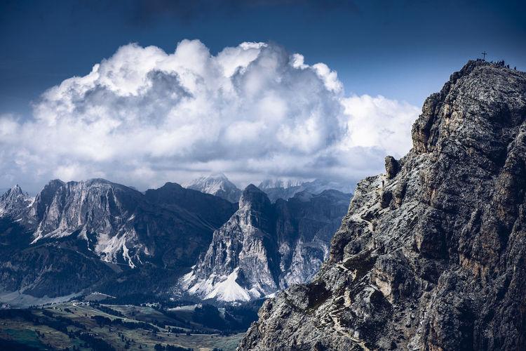 People on little lagazuoi peak, dolomites unesco