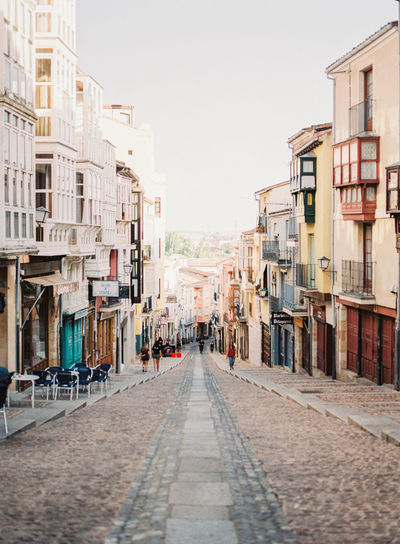 A street view in Zamora, Spain. Community Stairs Alley Apartment Architecture Building Exterior City Copy Space Diminishing Perspective Direction Footpath Residential District Row House The Way Forward Villa Village Walkway