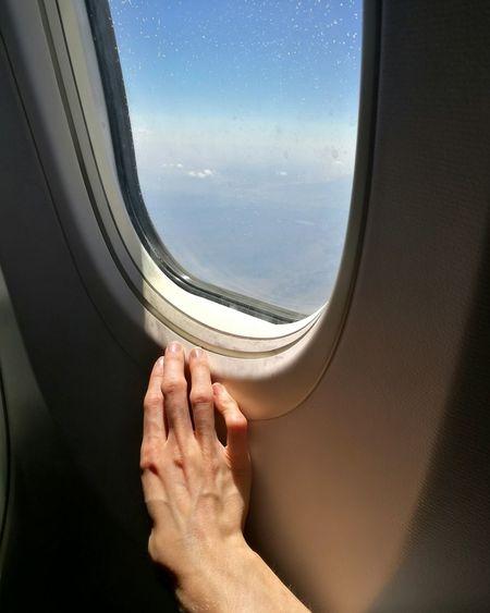 Hello World Travel Plane Hand Sky And Clouds Plane Window
