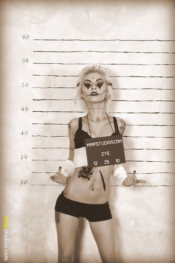 @mmpstudios_com @melvinmaya Photography Cannon Photographer Model Studio Shot Creepy Spooky Horror October Halloween Mugshot Sepia Front View Makeup Blonde Gorgeous Beautiful Houston Texas Standing Young Adult Bodypaint Lingerie