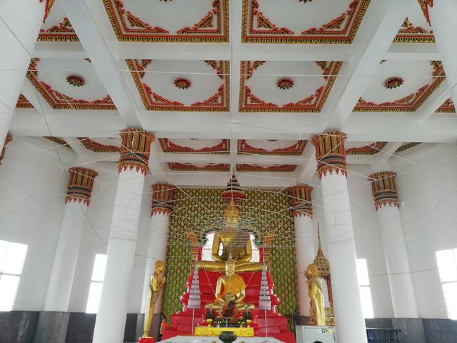 Thai Temple Thai Culture BUDDHISM IS LOVE Hanging Place Of Worship Religion Curtain Altar Spirituality Architectural Column Ceiling Architecture Built Structure Chandelier Hanging Light Sculpture Buddha Sculpted Statue Art Carving Idol Historic Decorative Art