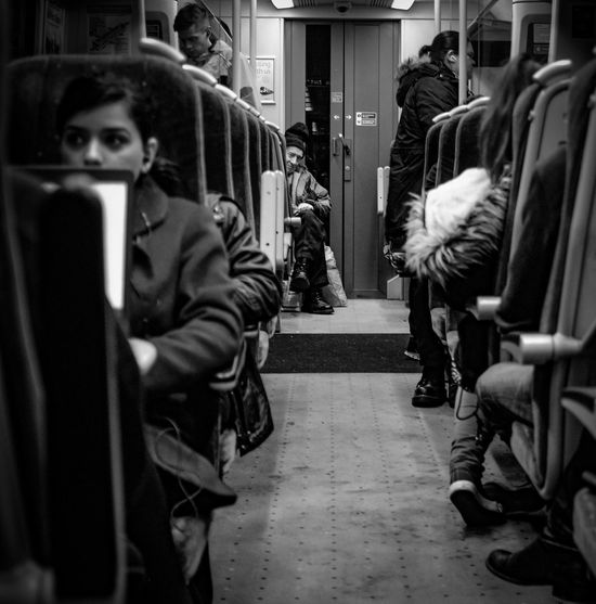 Black And White Everyday Life Bnw Eye Contact Heading Home Lifestyles Men Train Journey Train Station