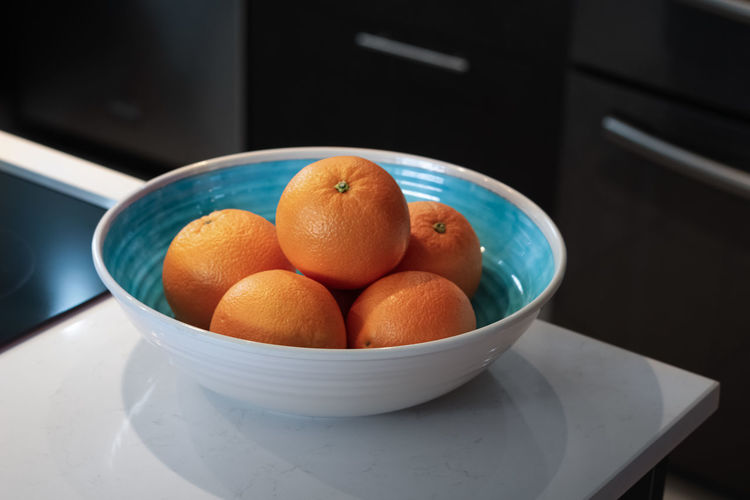 High angle view of fruits in bowl at home