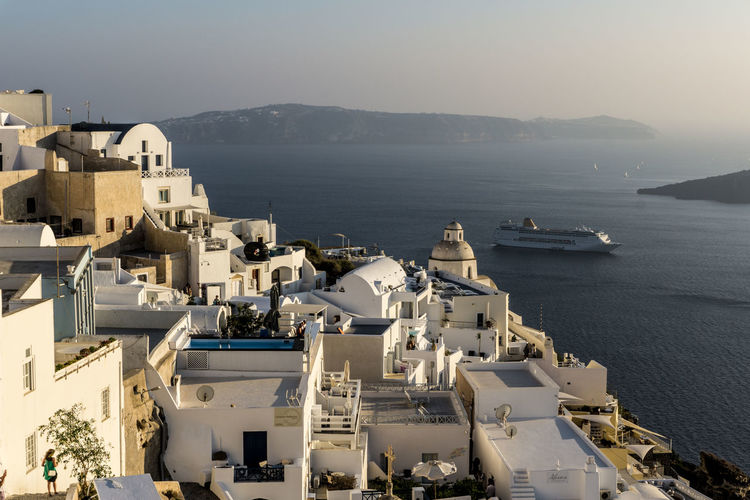 Architecture Cityscape Day Greece Horizontal Outdoors Sky Tranquility Travel Destinations Travel Photography Traveling Water Neighborhood Map in Santorini
