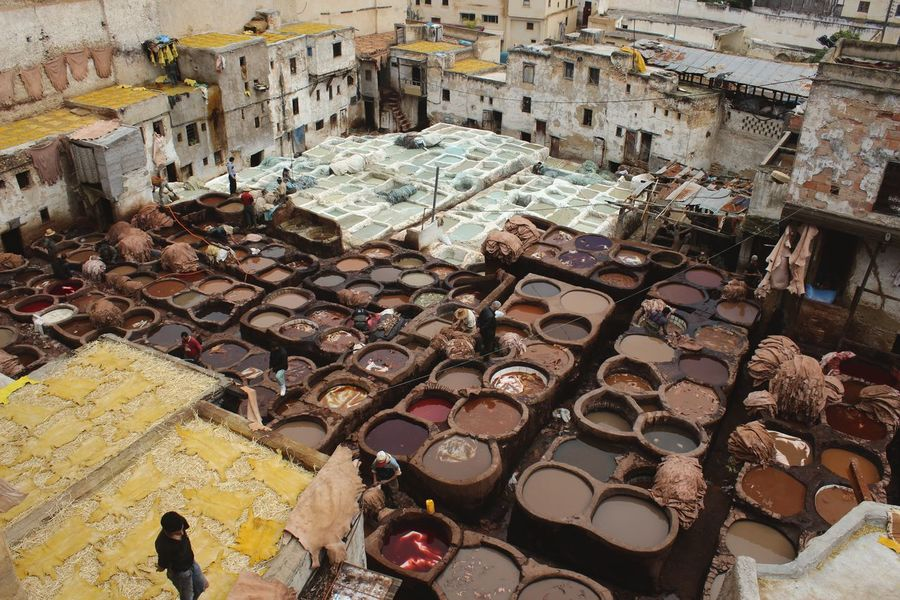 Built Structure Fes Fes Morocco Fez Fez Morocco High Angle View Leather Leather Craft Leather Goods Moroccan Moroccan Art Moroccan Artisanal Morocco Morocco Travel Outdoors Tan Tannery Tanning Tourism Tourism Destination Tradition Traditional Travel Destinations Travel Photography Traveling