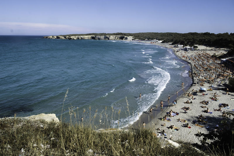 Architecture Beach Beauty In Nature Cliff Day High Angle View Horizon Over Water Italy Melendugno Nature No People Outdoors Puglia Salento Sand Scenics Sea Sky Summer Summertime Travel Destinations Tree Water Wave Live For The Story