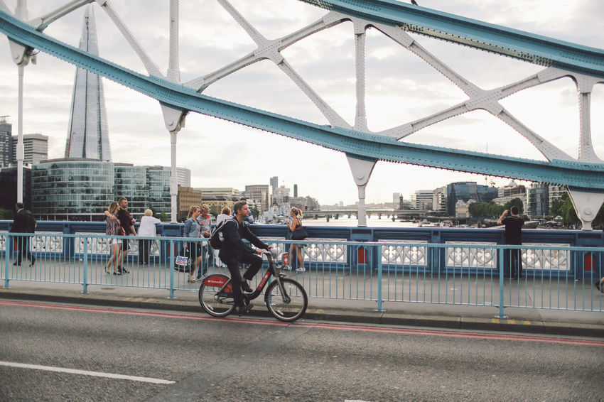 Architecture Bicycle Bridge - Man Made Structure Snap a Stranger Built Structure City London Lifestyle Cityscape Connection CyclingUnites Land Vehicle Leisure Activity Lifestyles Men Mode Of Transport Motion On The Move Riding River Tourism Tower Bridge  Transportation Travel Travel Destinations Water EyeEm LOST IN London