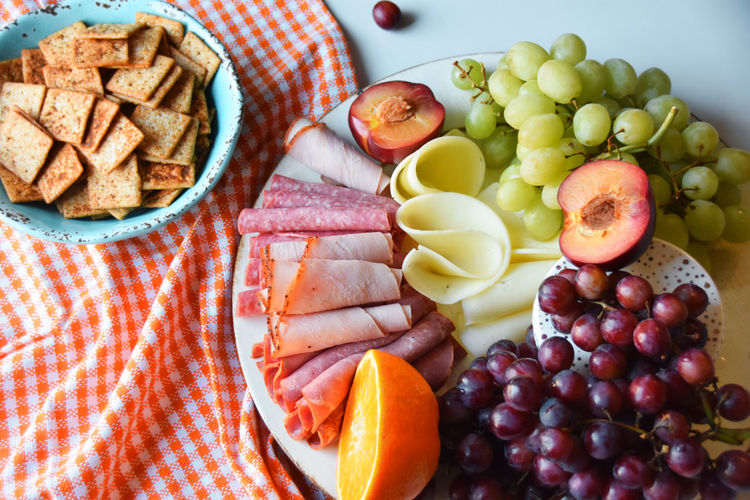 High Angle View Of Fresh Food In Plate On Table
