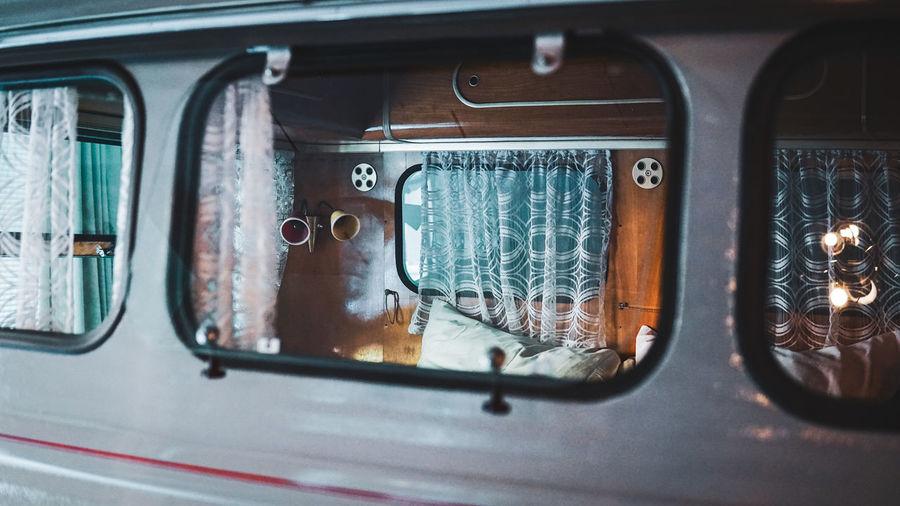 Close-up of caravan window