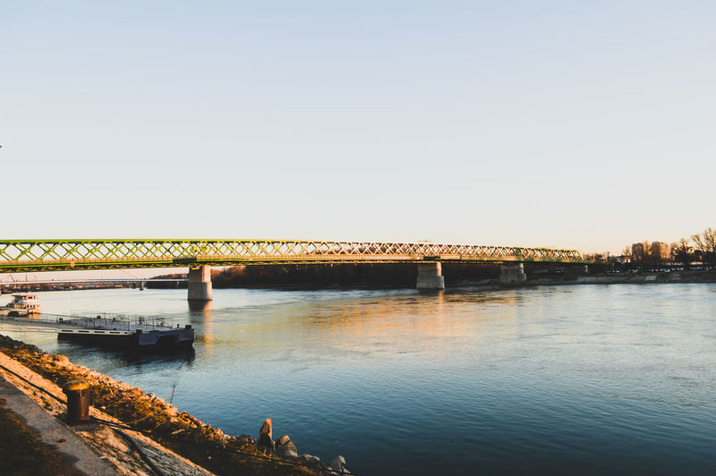 over river Bridge Bridge View Bridge - Man Made Structure Built Structure Architecture Water River Scenics Connection Copy Space Clear Sky Nature Beauty In Nature No People Outdoors City Urban Landscape Urban Photography Urban Perspectives TheWeekOnEyeEM Simplicity Minimalism
