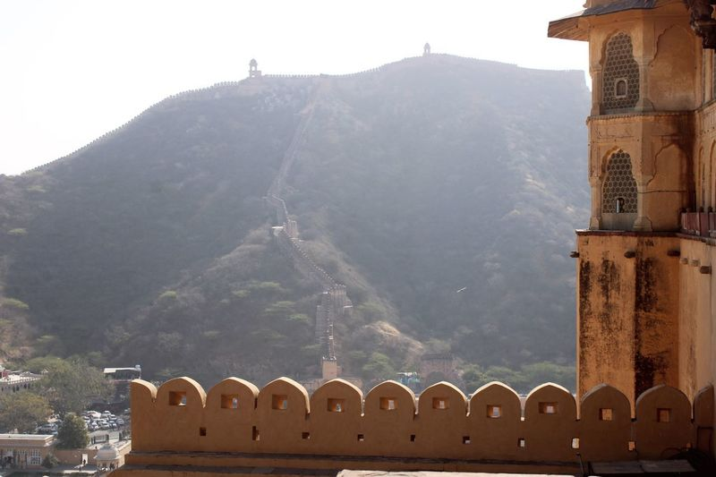 Fortified walls from the amer Fort Built Structure Architecture Building Exterior Mountain Building History The Past Travel Destinations No People